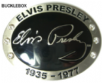 ELVIS PRESLEY SIGNATURE Belt Buckle + display stand. Code PA8